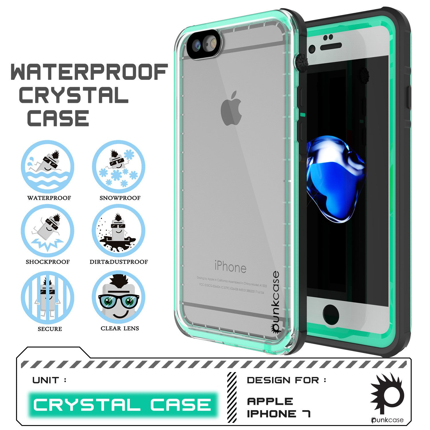 Apple iPhone 7 Waterproof Case, PUNKcase CRYSTAL Teal W/ Attached Screen Protector  | Warranty