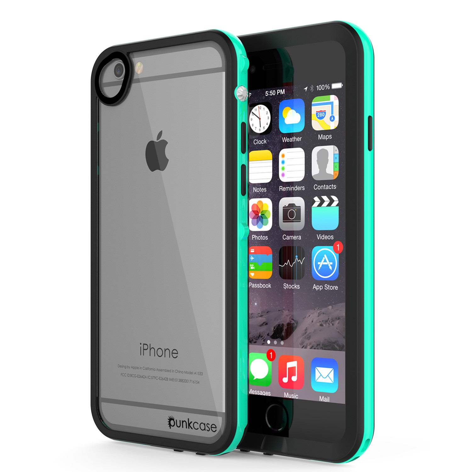 Apple iPhone 7/6s/6 Waterproof Case, PUNKcase CRYSTAL 2.0 Teal W/ Attached Screen Protector  | Warranty