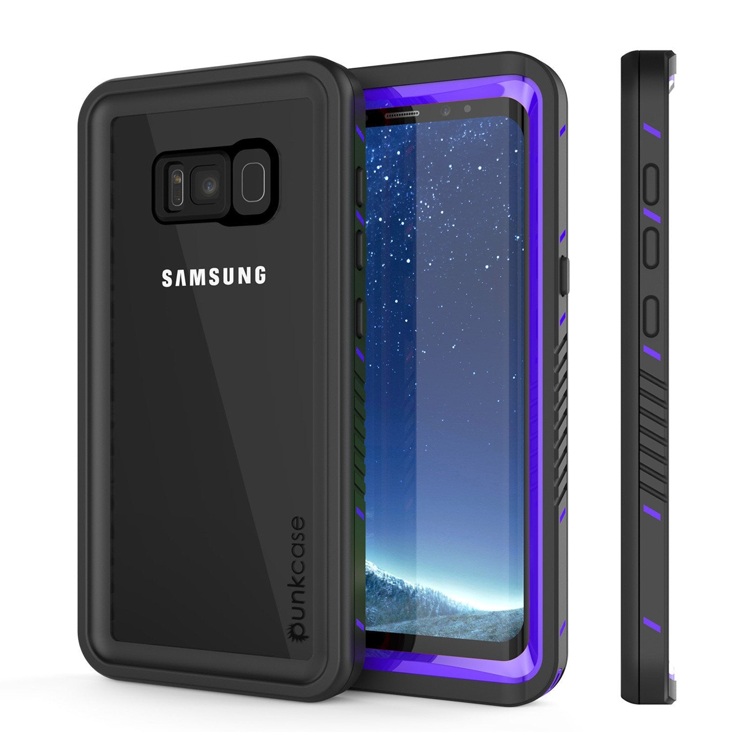 Galaxy S8 PLUS Waterproof Case, Punkcase [Extreme Series] [Slim Fit] [IP68 Certified] [Shockproof] [Snowproof] [Dirproof] Armor Cover W/ Built In Screen Protector for Samsung Galaxy S8+ [Purple]