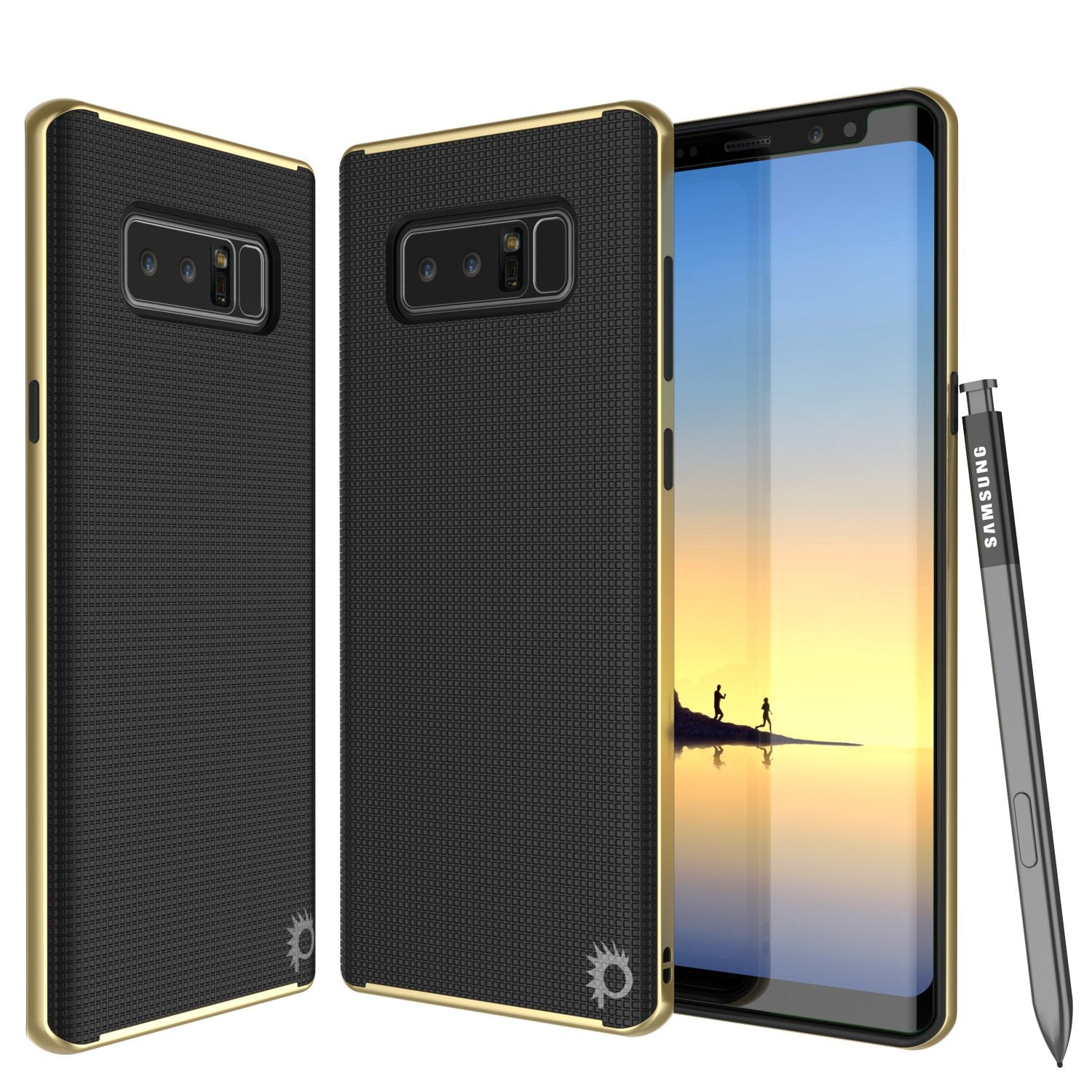 Galaxy Note 8 Case, PunkCase [Stealth Series] Hybrid 3-Piece Shockproof Dual Layer Cover [Non-Slip] [Soft TPU + PC Bumper] with PUNKSHIELD Screen Protector for Samsung Note 8 [Gold]