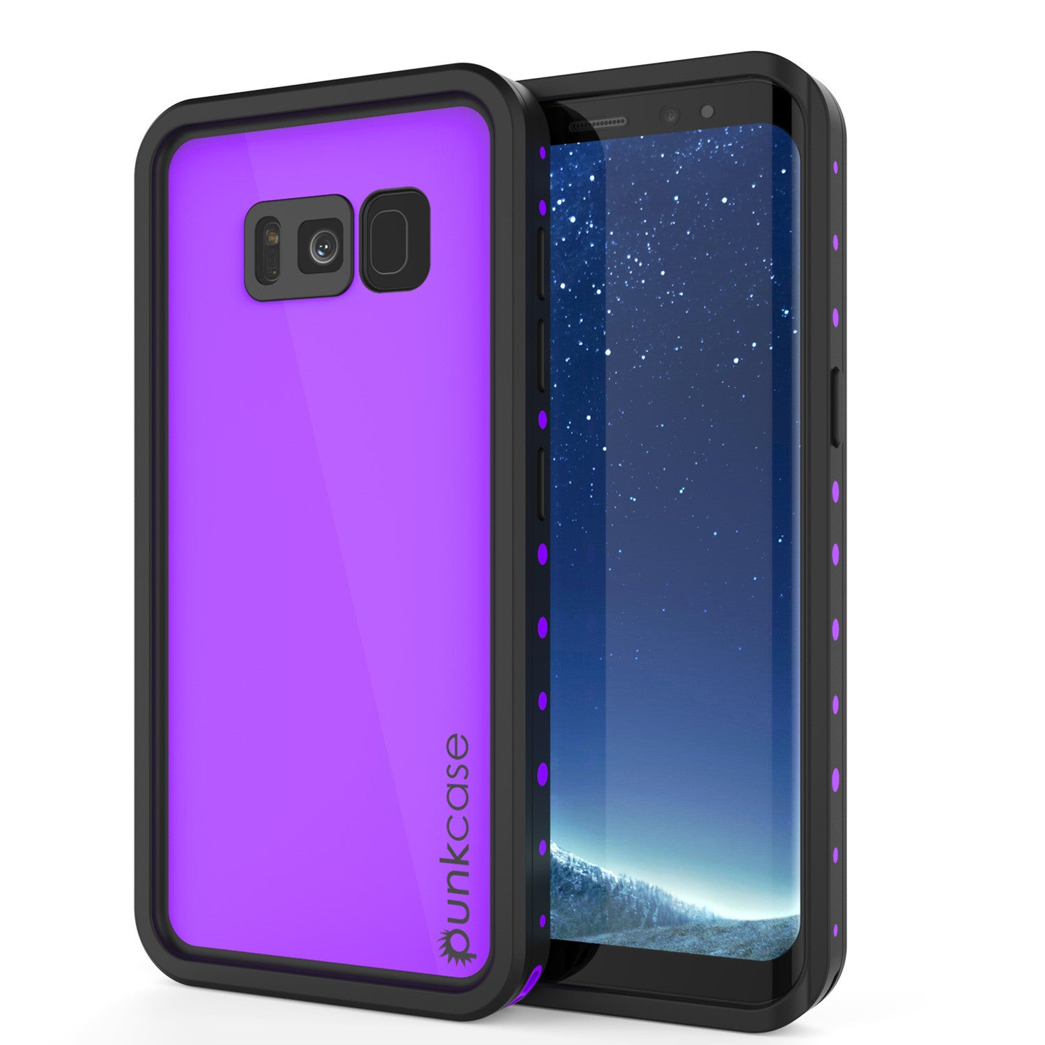 Galaxy S8 Plus Waterproof Case PunkCase StudStar Purple Thin 6.6ft Underwater IP68 Shock/Snow Proof