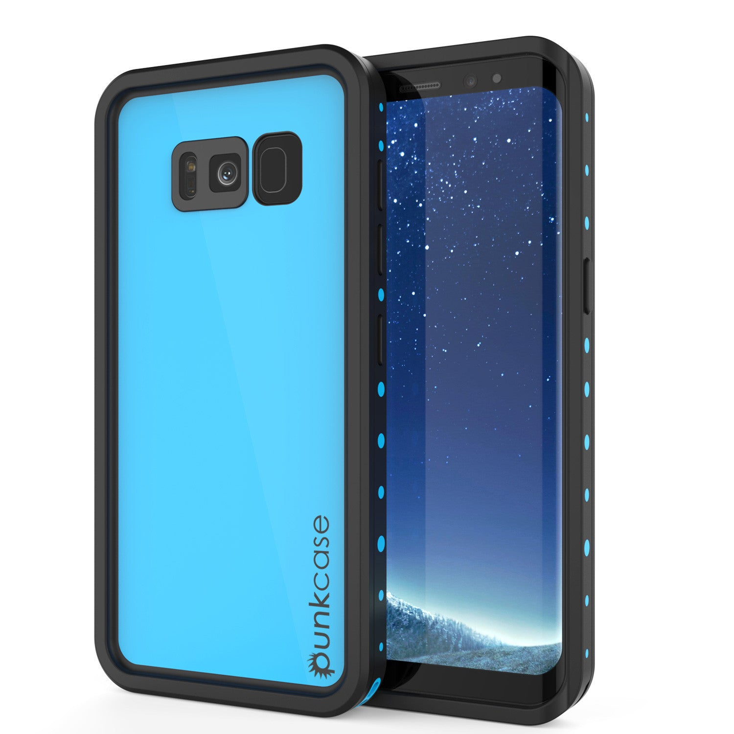 Galaxy S8 Plus Waterproof Case PunkCase StudStar Light Blue Thin 6.6ft Underwater IP68 ShockProof