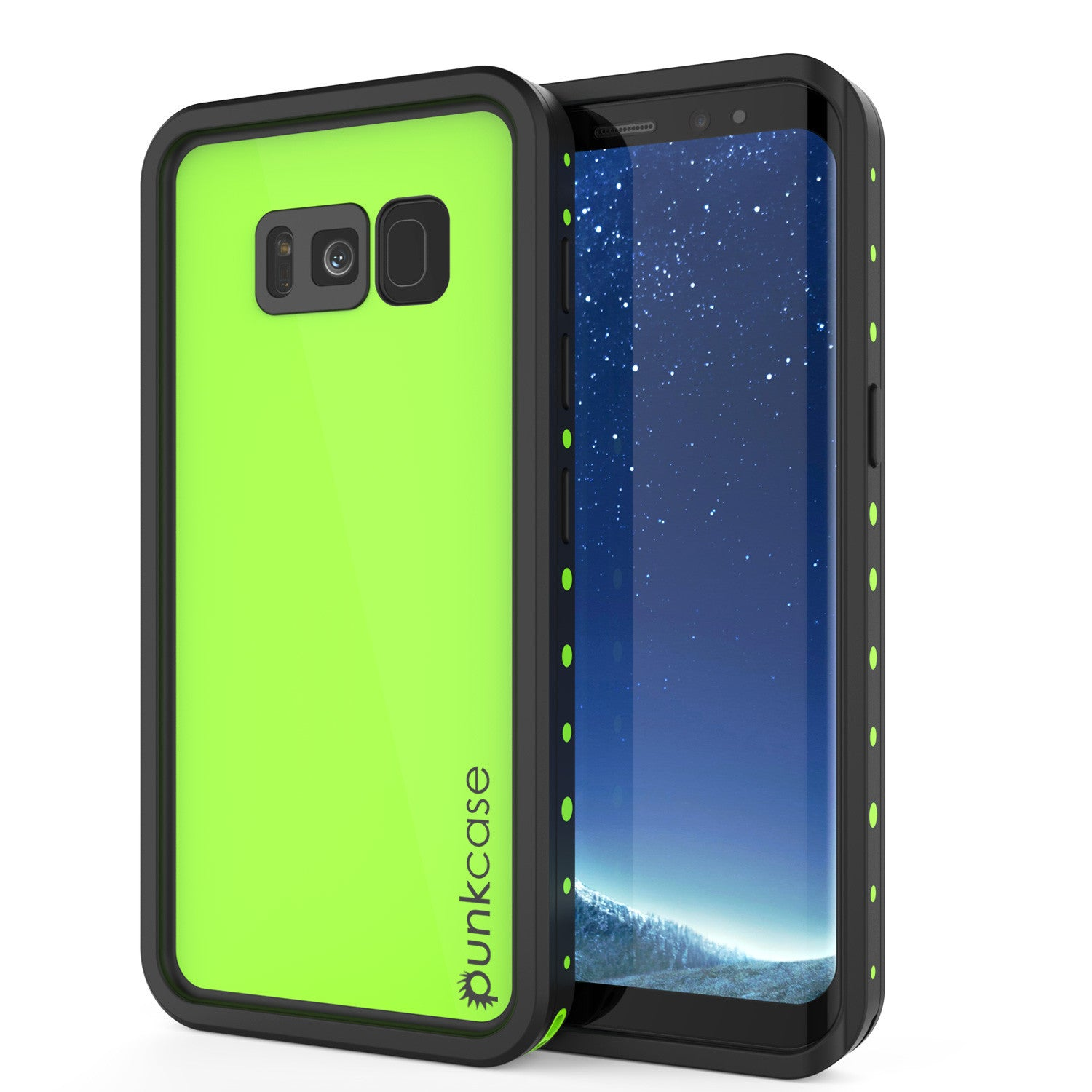 Galaxy S8 Plus Waterproof Case PunkCase StudStar Light Green Thin 6.6ft Underwater IP68 ShockProof
