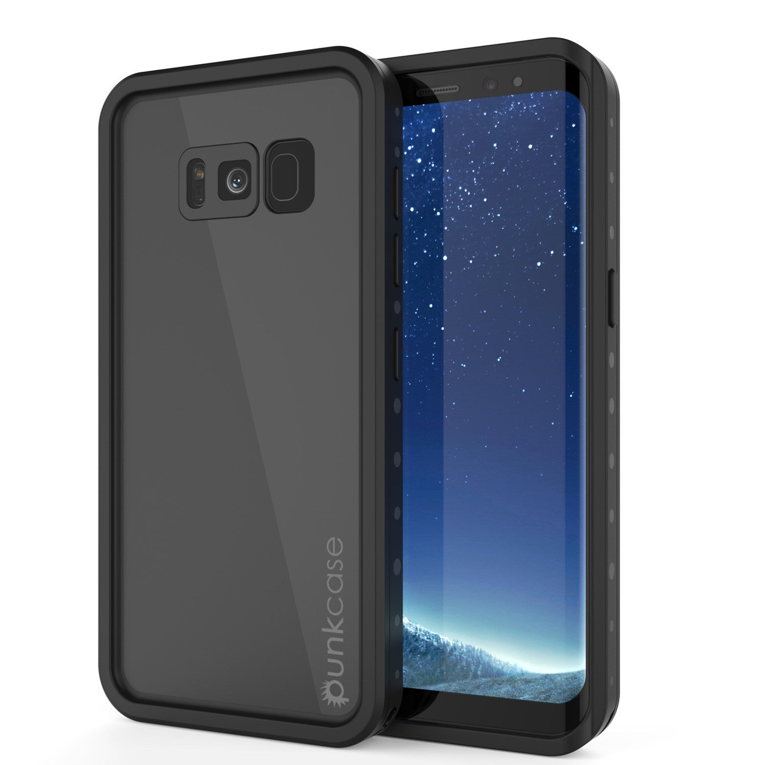 Galaxy S8 Plus Waterproof Case PunkCase StudStar Black Thin 6.6ft Underwater IP68 Shock/Snow Proof