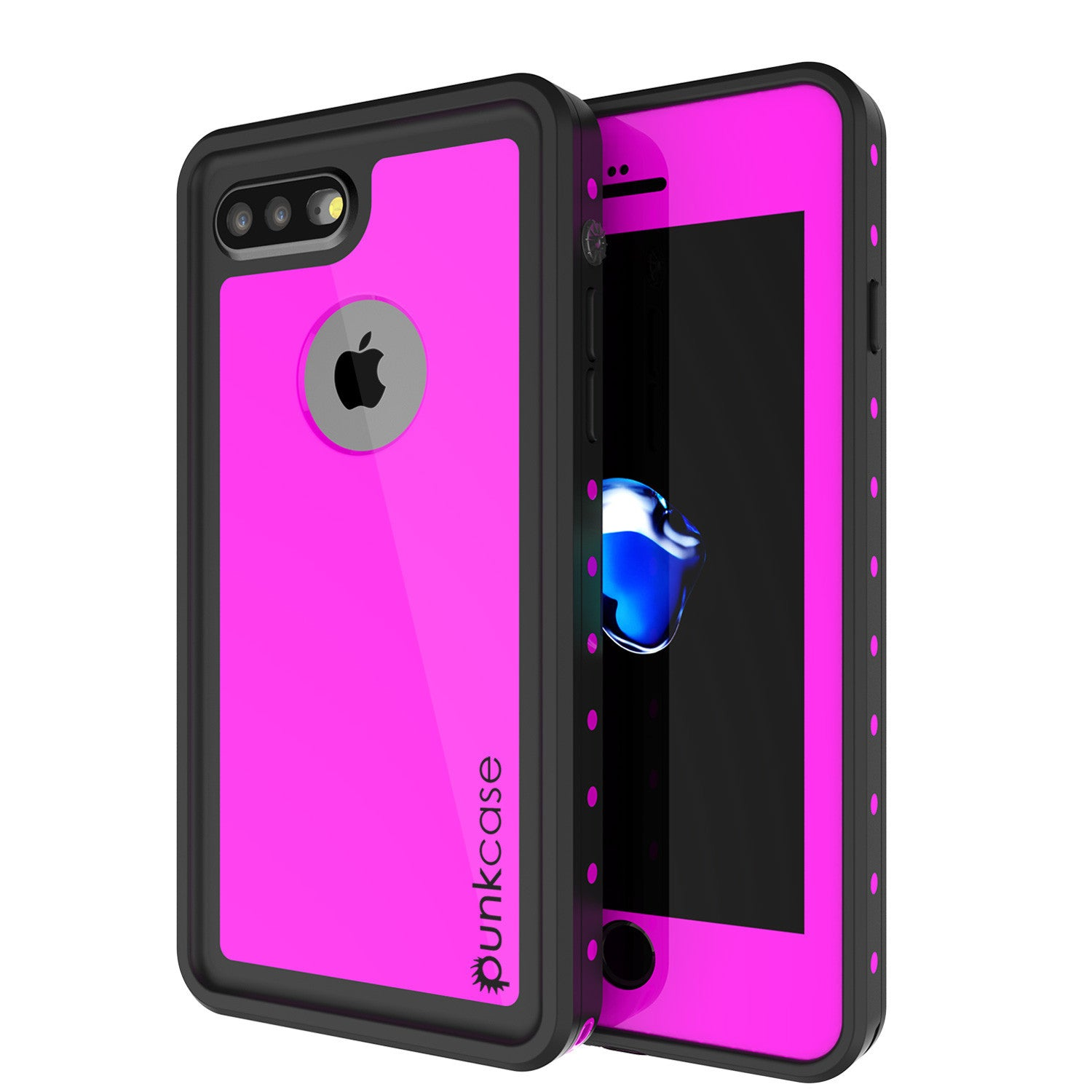 iPhone 8+ Plus Waterproof Case, Punkcase [StudStar Series] [Pink] [Slim Fit] [Shockproof] [Dirtproof] [Snowproof] Armor Cover