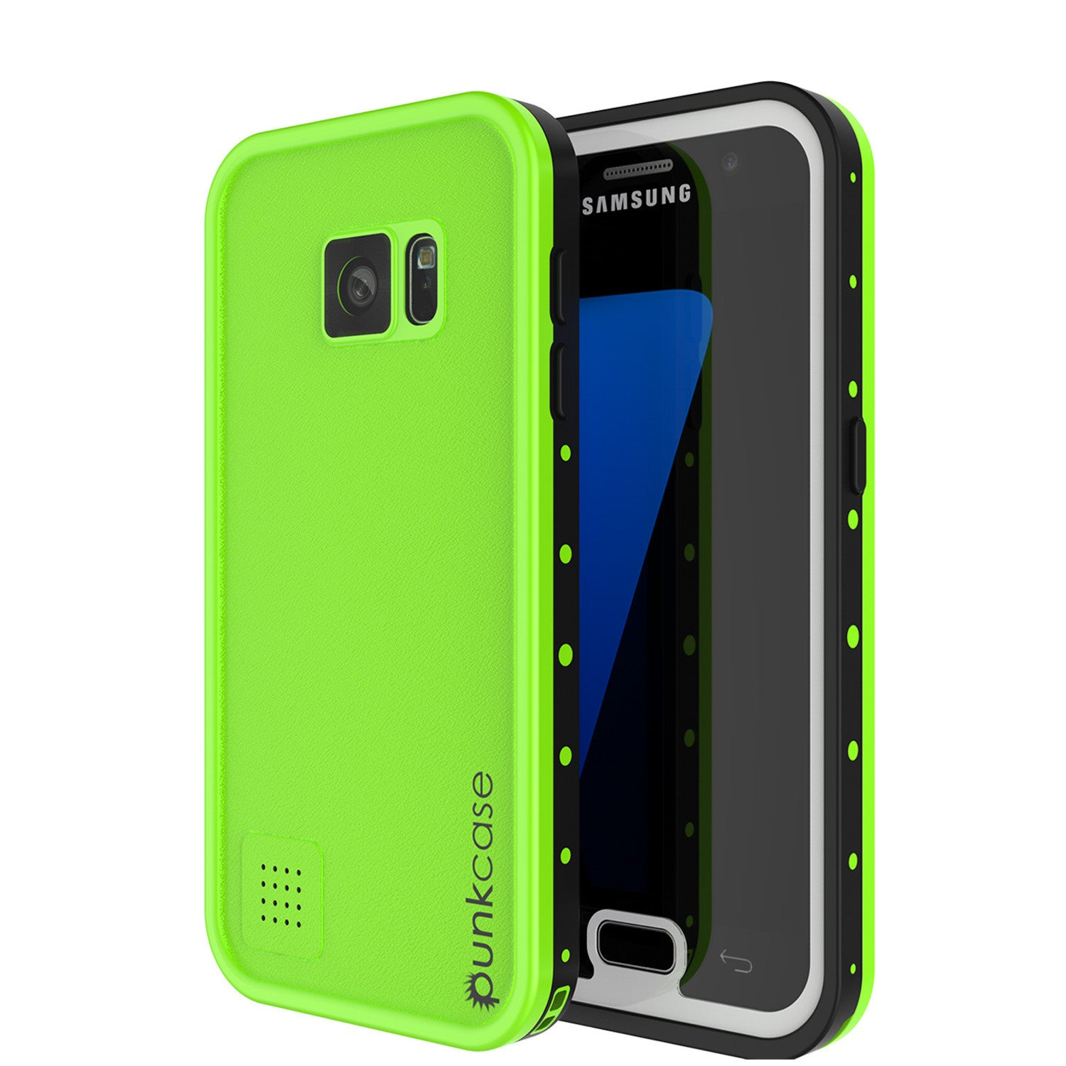 Galaxy S7 Waterproof Case PunkCase StudStar Light Green Thin 6.6ft Underwater IP68 Shock/DirtProof