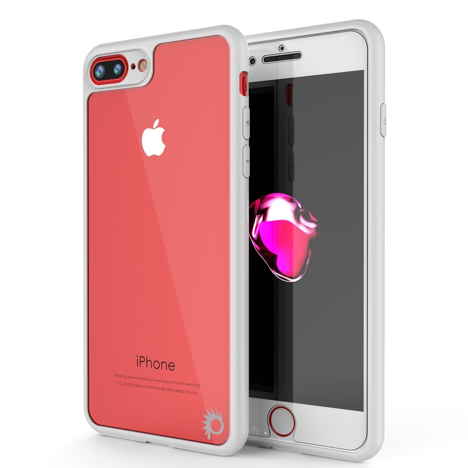 iPhone 8+ Plus Case, Punkcase [MASK Series] [WHITE] Full Body Hybrid Dual Layer TPU Cover W/ protective Tempered Glass Screen Protector