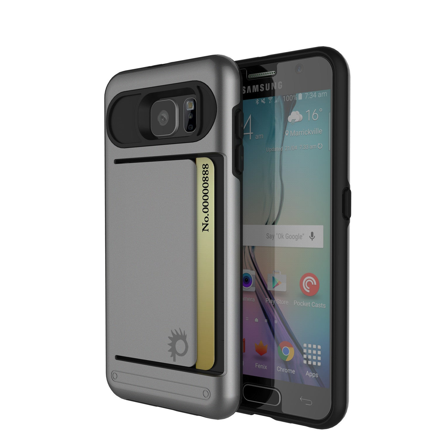 Galaxy s6 Case PunkCase CLUTCH Grey Series Slim Armor Soft Cover Case w/ Tempered Glass