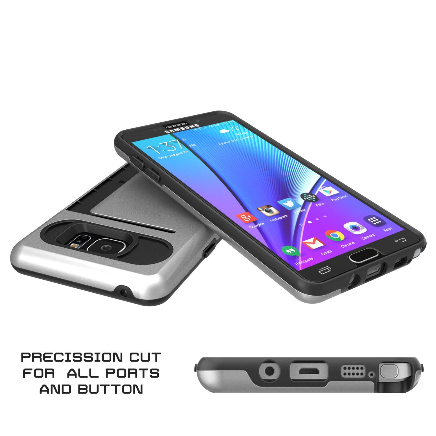 Galaxy Note 5 Case PunkCase CLUTCH Silver Series Slim Armor Soft Cover Case w/ Tempered Glass