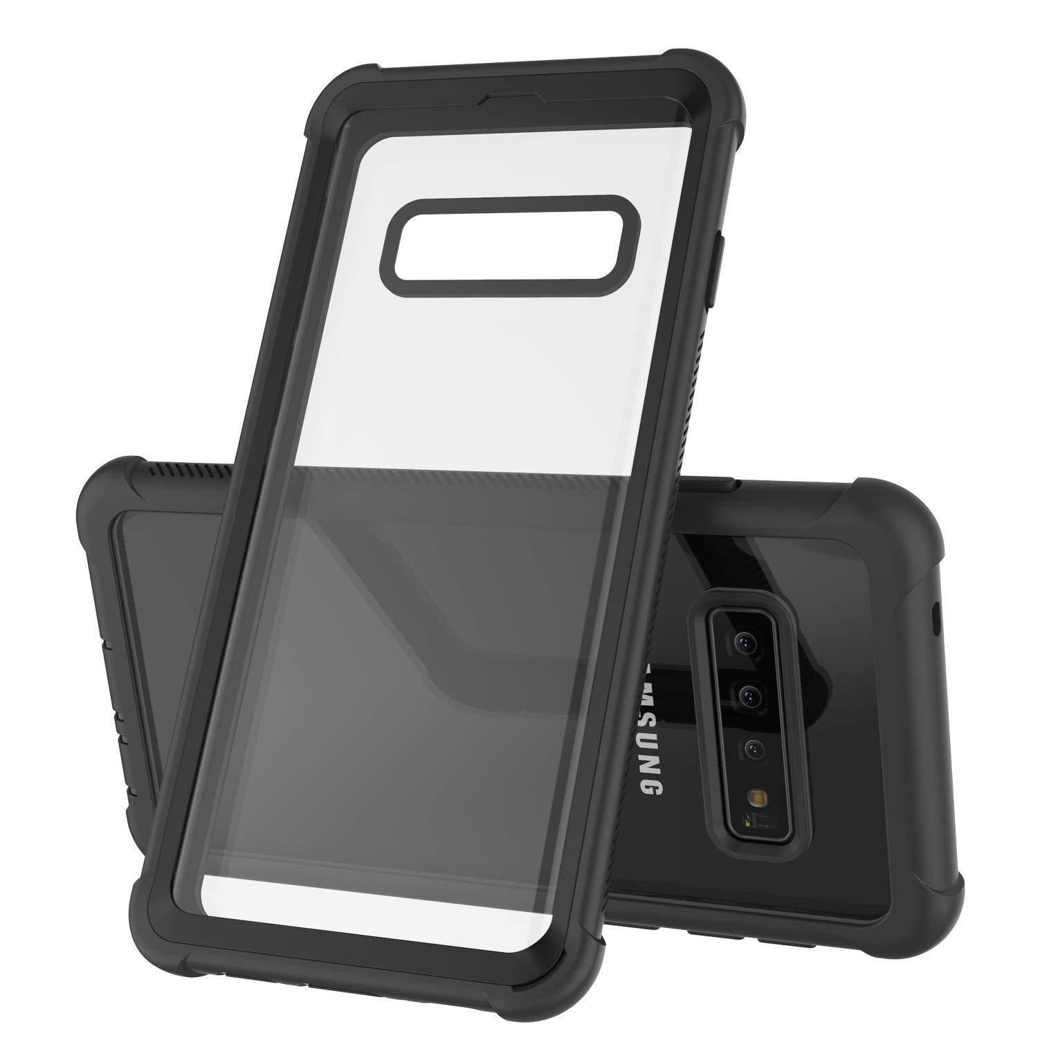 PunkCase Galaxy S10 Case, [Spartan Series] Clear Rugged Heavy Duty Cover W/Built in Screen Protector [Black]