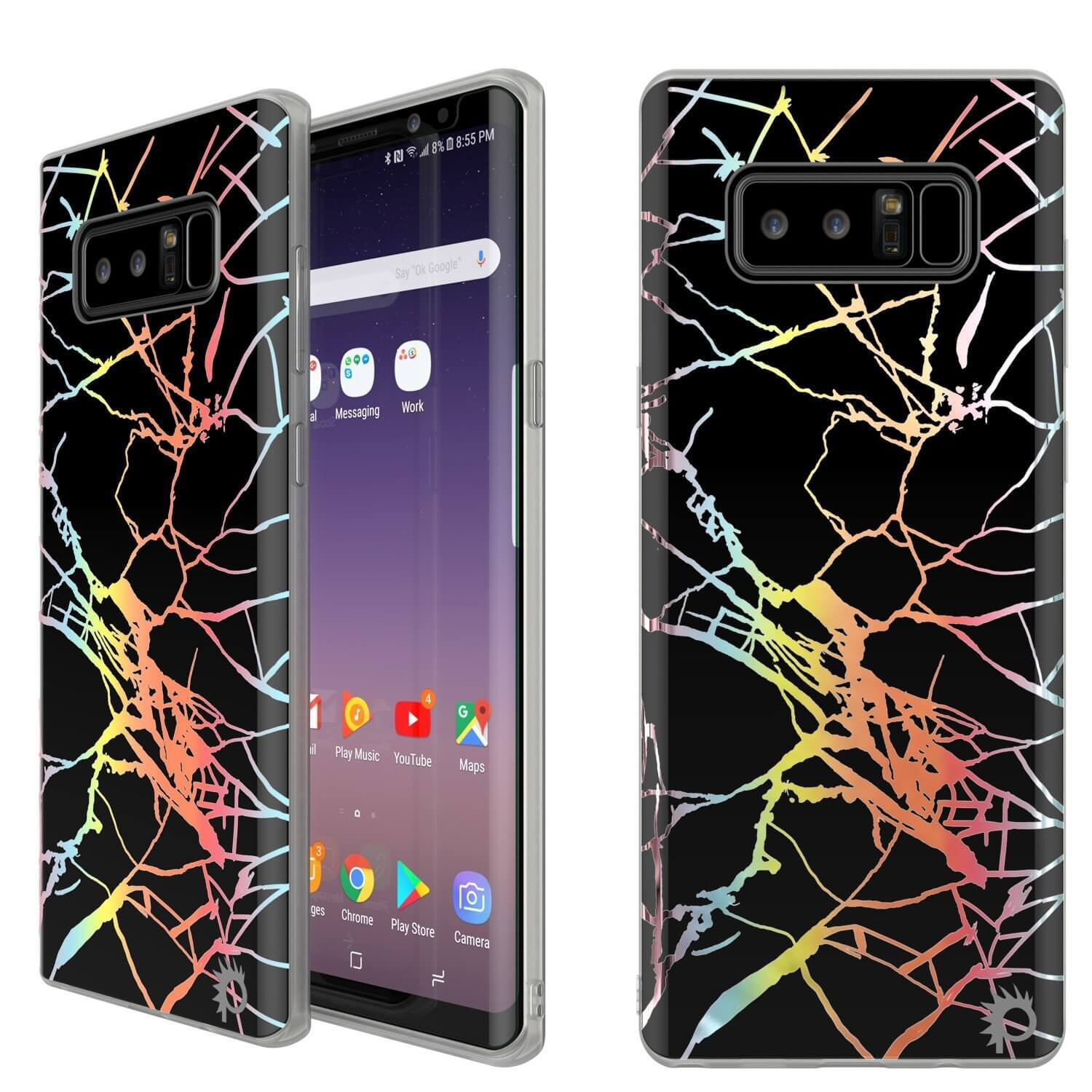 Punkcase Galaxy Note 8 Marble Case, Protective Full Body Cover W/PunkShield Screen Protector (Black Mirage)