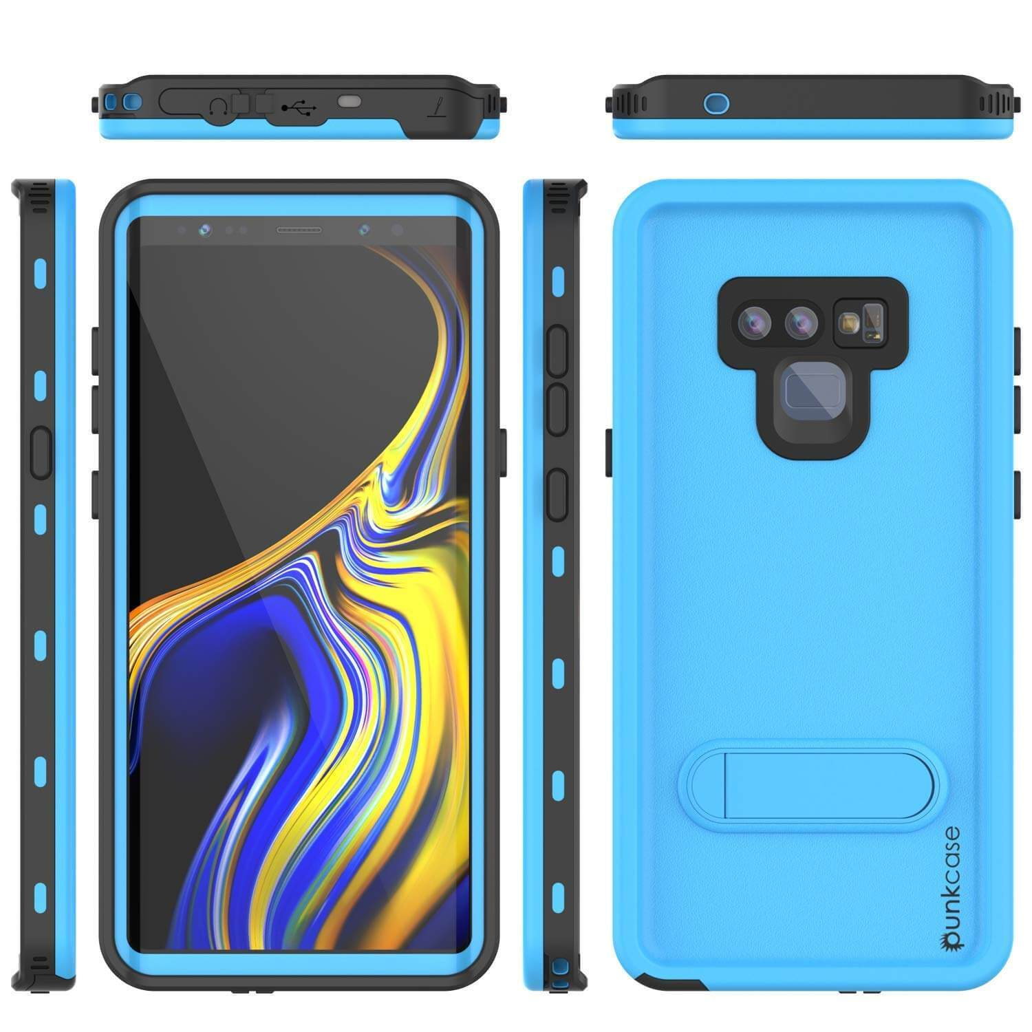 PunkCase Galaxy Note 9 Waterproof Case, [KickStud Series] Armor Cover [Light-Blue]