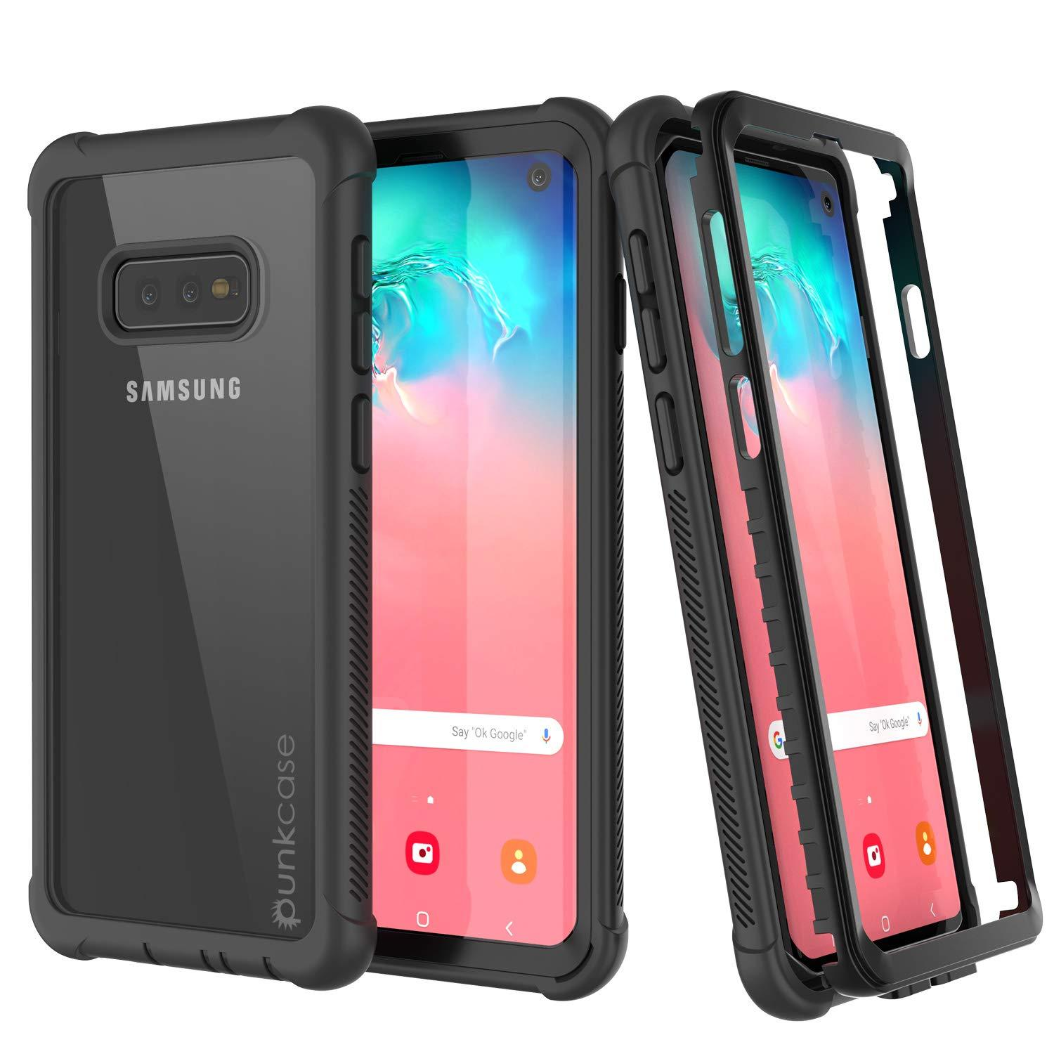 PunkCase Galaxy S10e Case, [Spartan Series] Clear Rugged Heavy Duty Cover W/Built in Screen Protector [Black]