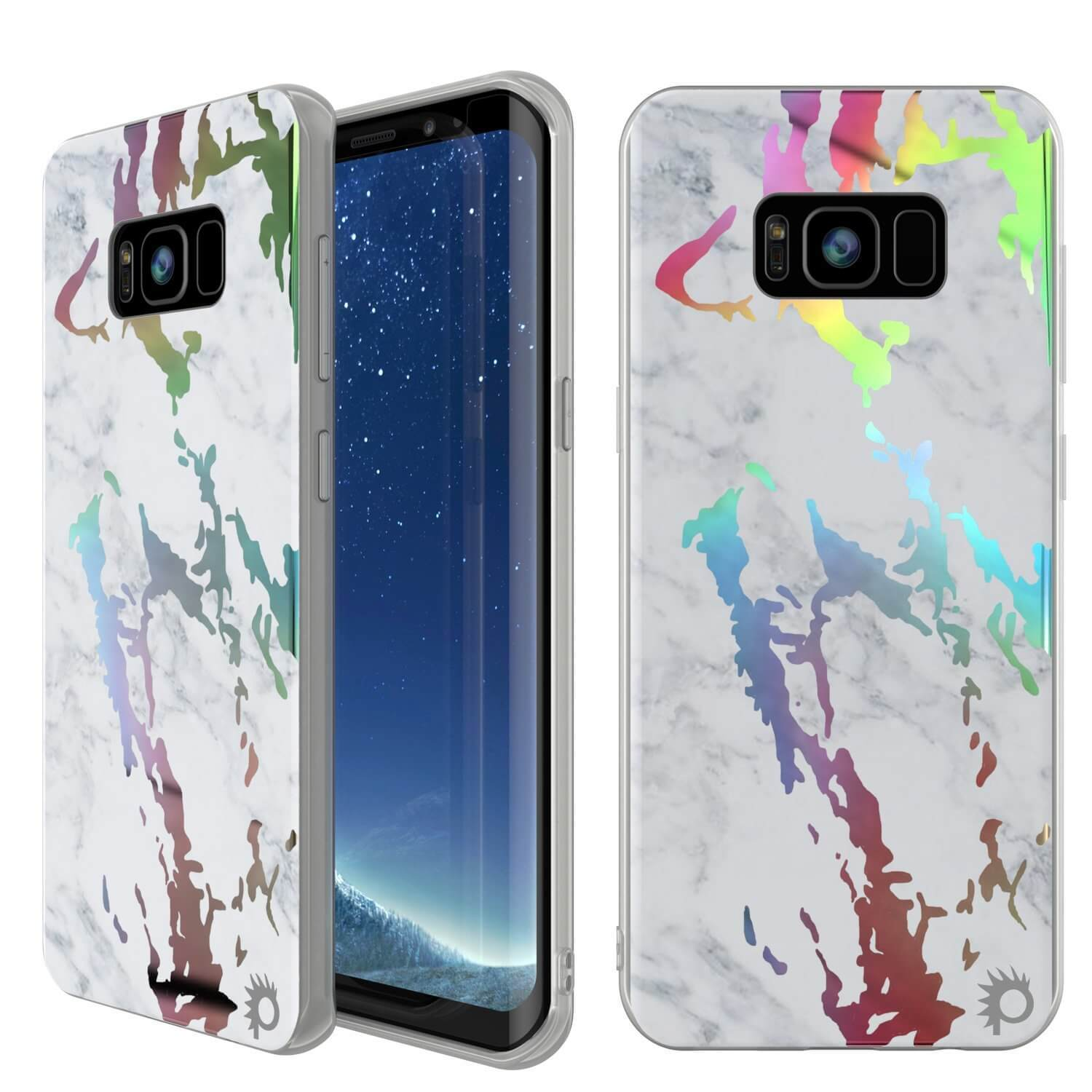 Punkcase Galaxy S8 Marble Case, Protective Full Body Cover W/PunkShield Screen Protector (Blanco Marmo)