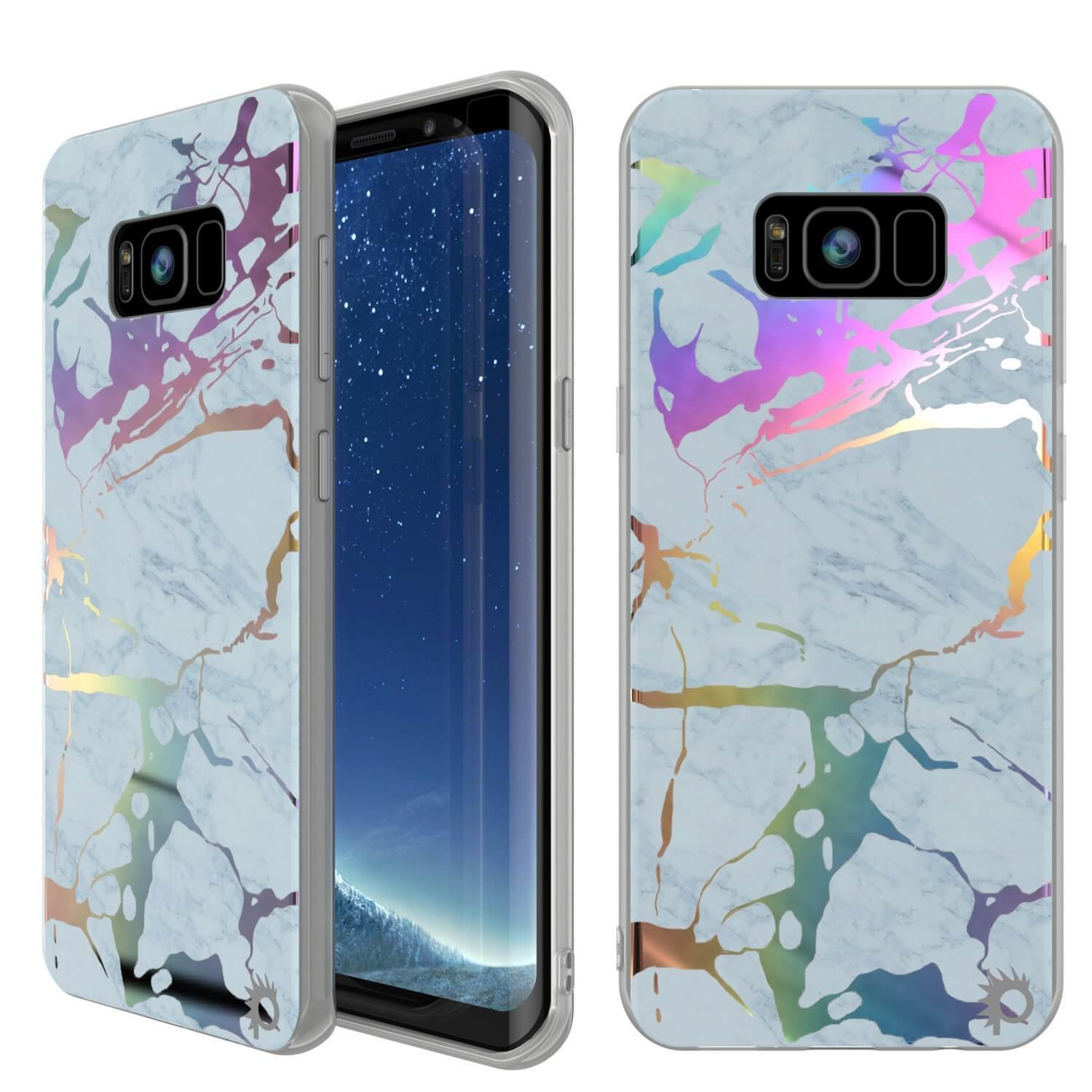 Punkcase Galaxy S8 Marble Case, Protective Full Body Cover W/PunkShield Screen Protector (Blue Marmo)