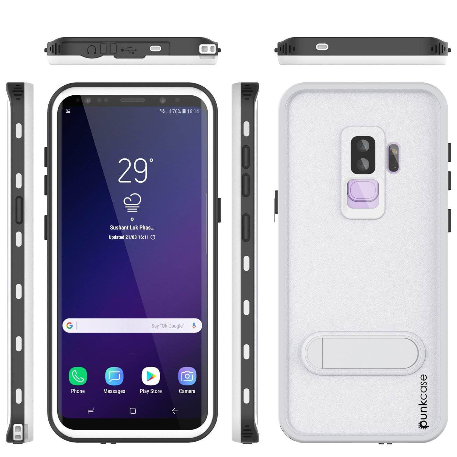 Galaxy S9 Plus Waterproof Case, Punkcase [KickStud Series] Armor Cover [WHITE]