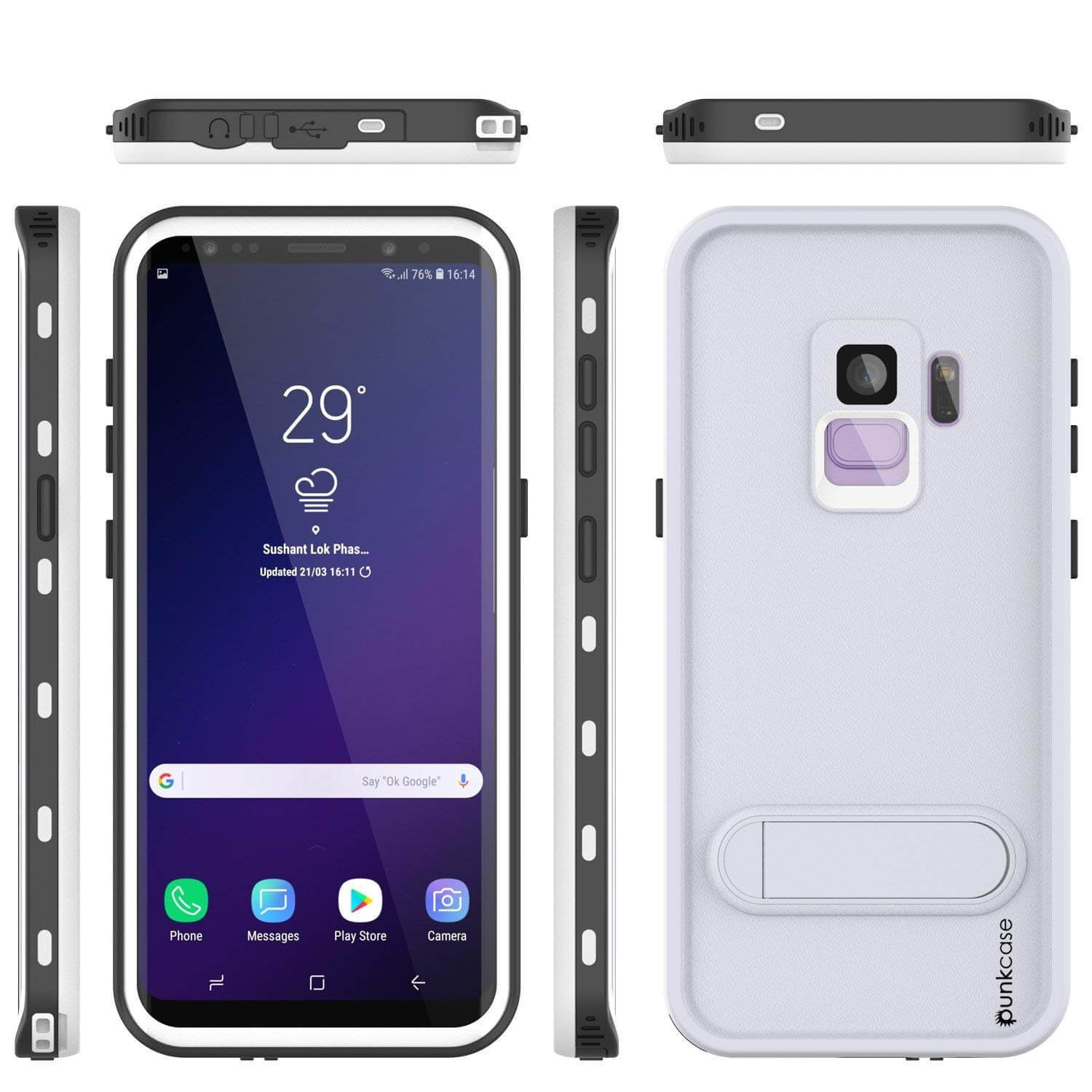 Galaxy S9 Waterproof Case, Punkcase [KickStud Series] Armor Cover [WHITE]