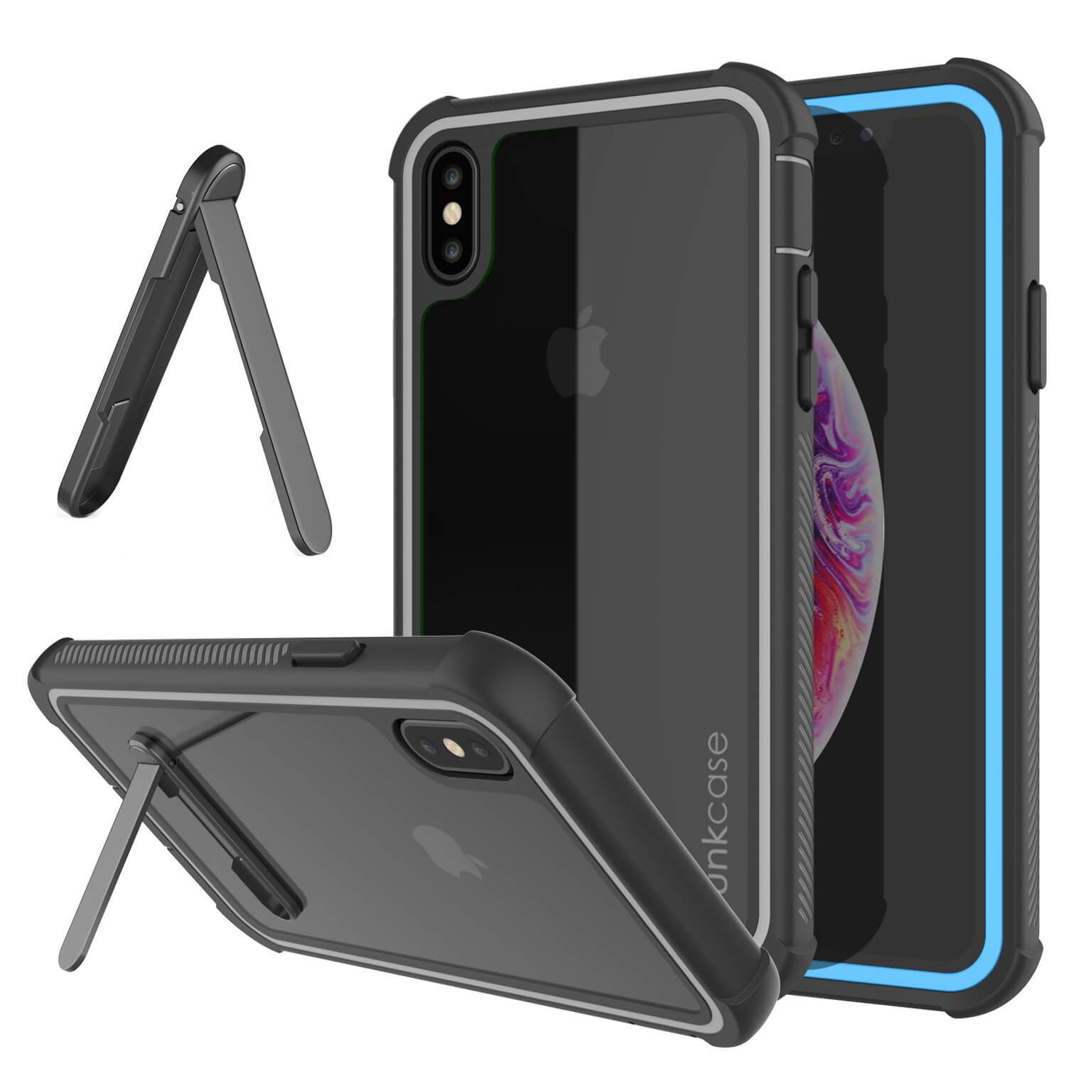PunkCase iPhone XS Case, [Spartan Series] Clear Rugged Heavy Duty Cover W/Built in Screen Protector [Light-Blue]