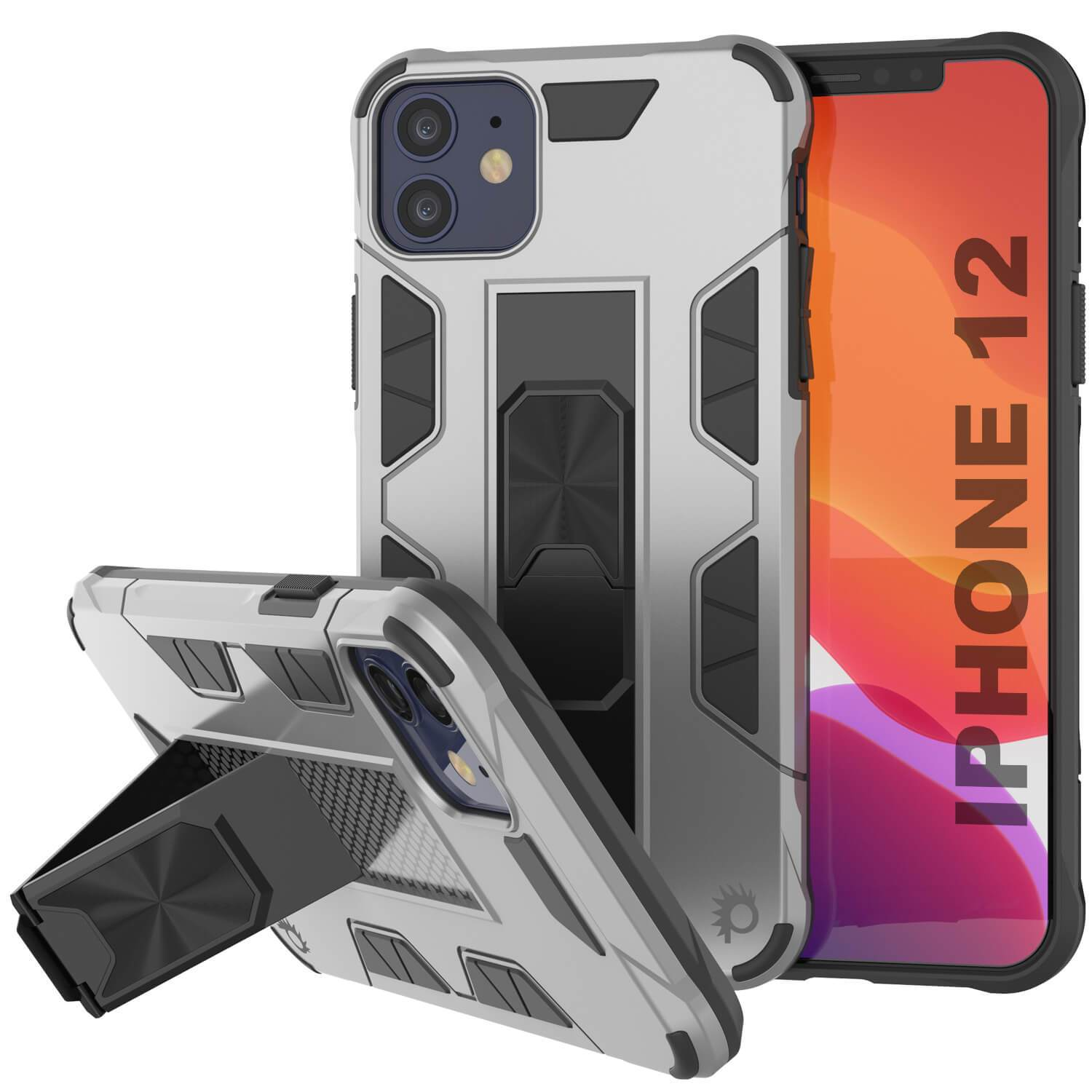 Punkcase iPhone 12 Case [ArmorShield Series] Military Style Protective Dual Layer Case Silver