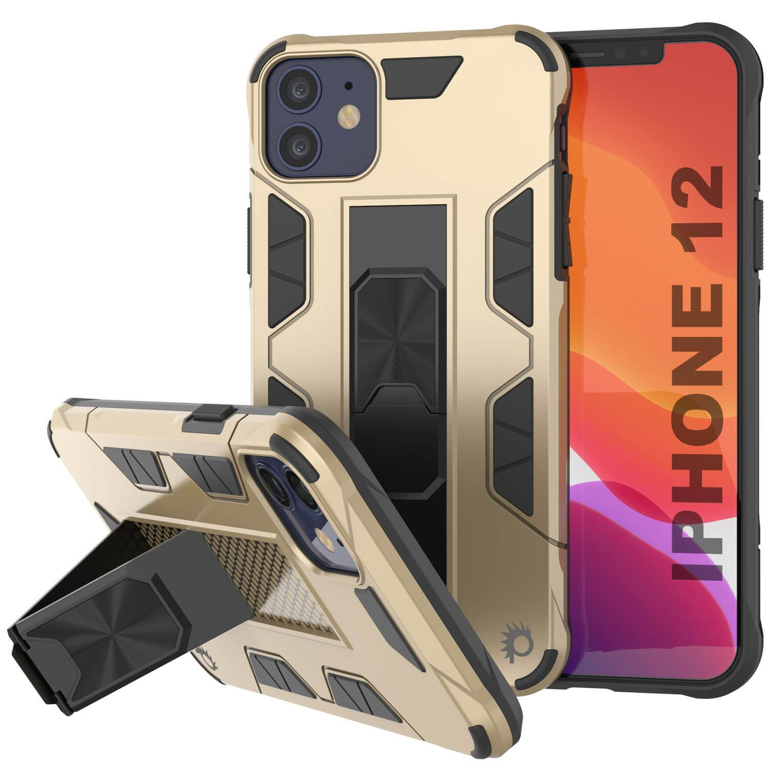 Punkcase iPhone 12 Case [ArmorShield Series] Military Style Protective Dual Layer Case Gold