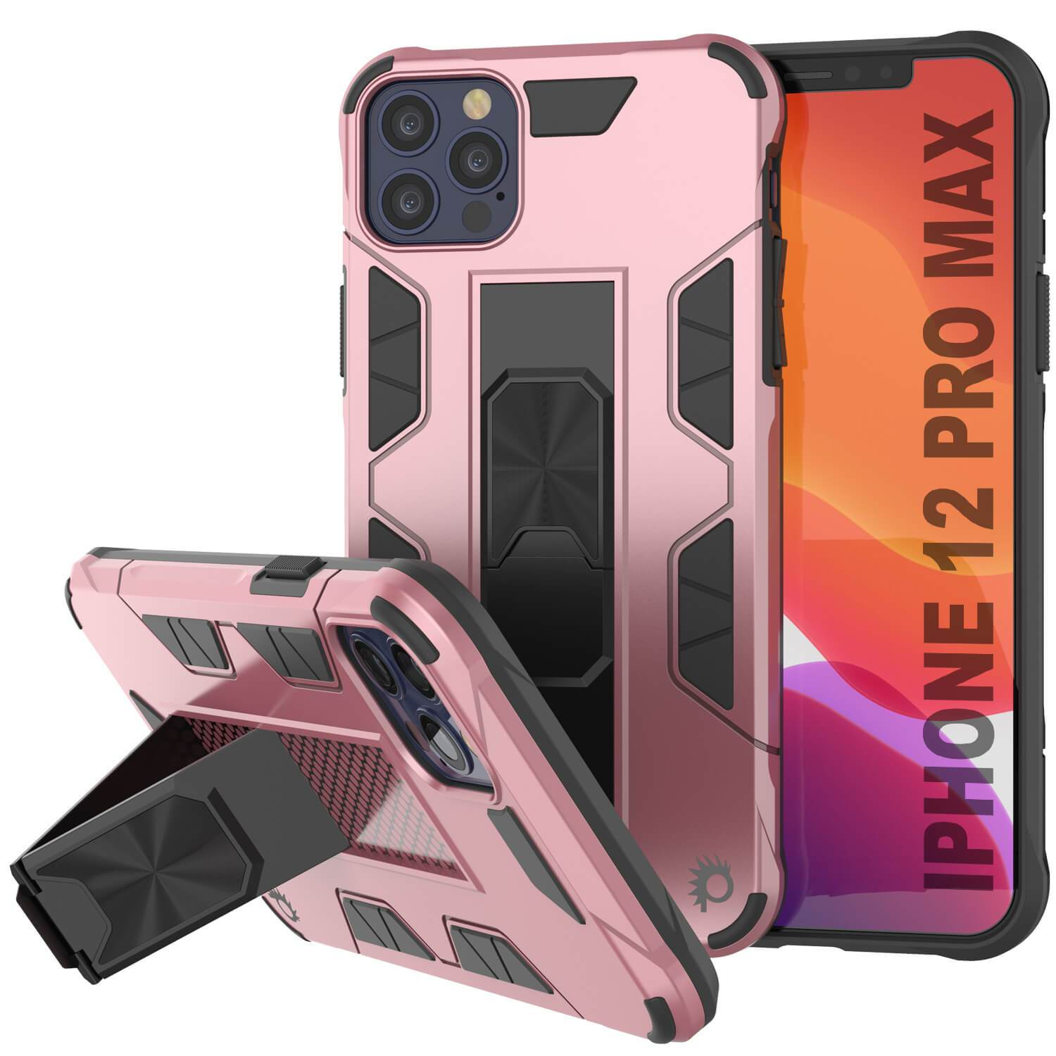 Punkcase iPhone 12 Pro Max Case [ArmorShield Series] Military Style Protective Dual Layer Case Rose-Gold