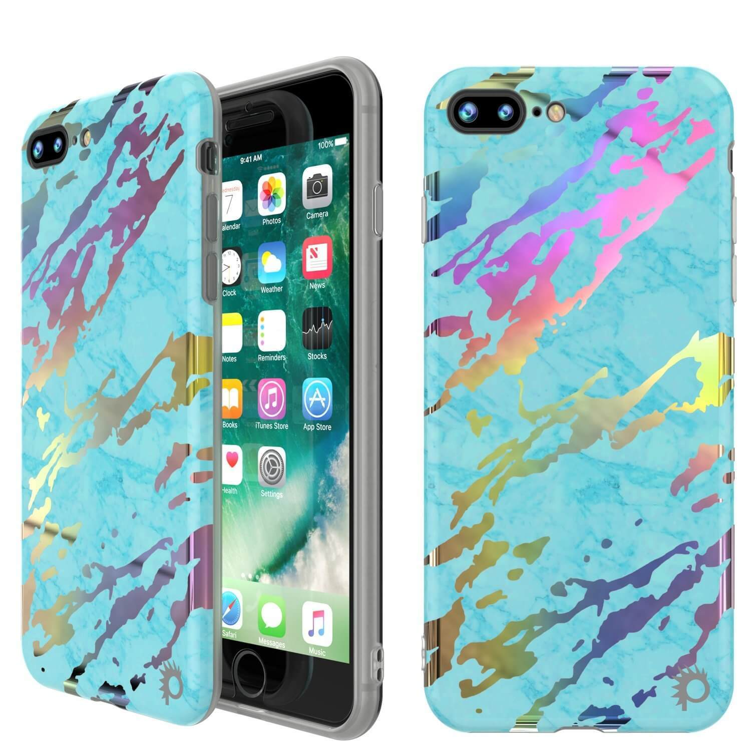 Punkcase iPhone 8+ / 7+ Plus Marble Case, Protective Full Body Cover W/9H Tempered Glass Screen Protector (Teal Onyx)