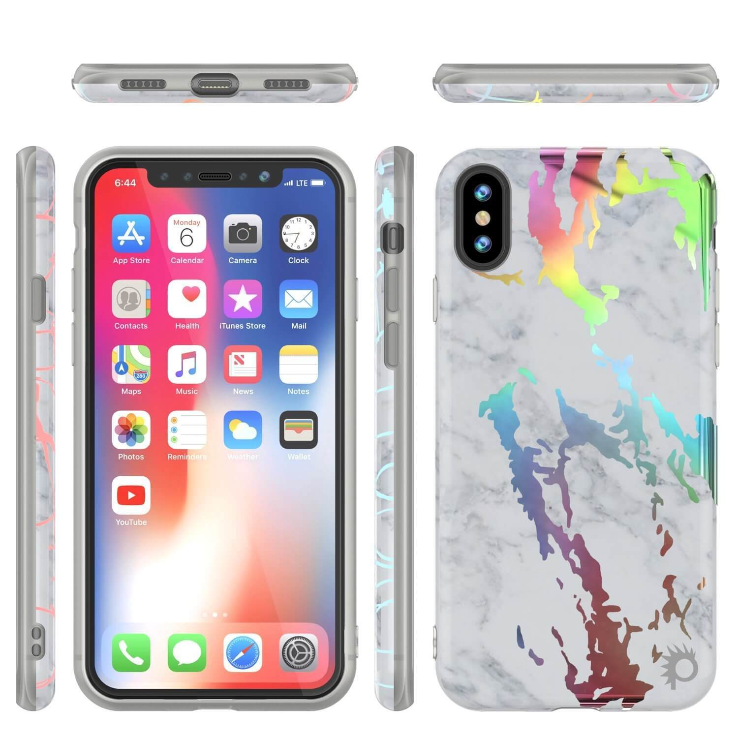Punkcase iPhone X Marble Case, Protective Full Body Cover W/9H Tempered Glass Screen Protector (Blanco Marmo)