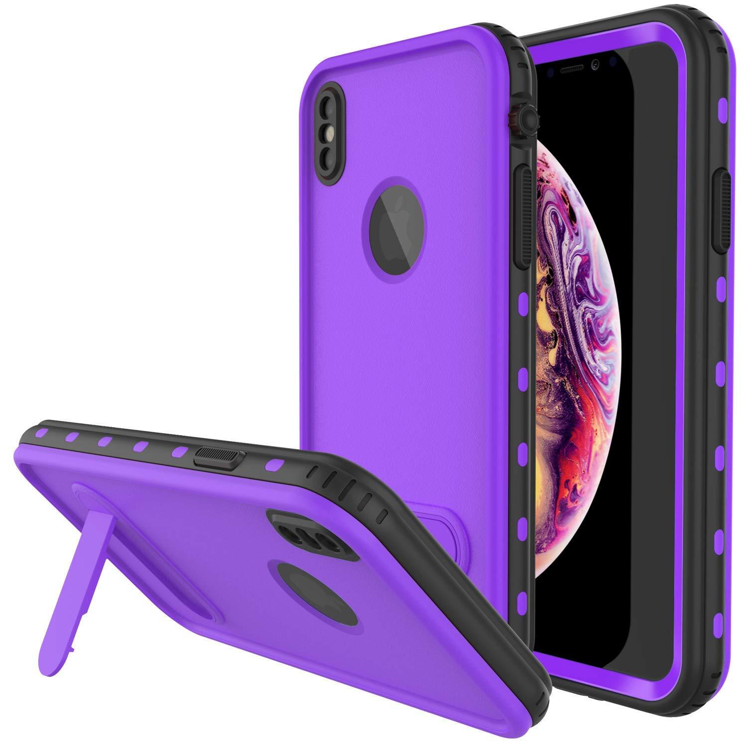 iPhone XS Max Waterproof Case, Punkcase [KickStud Series] Armor Cover [Purple]