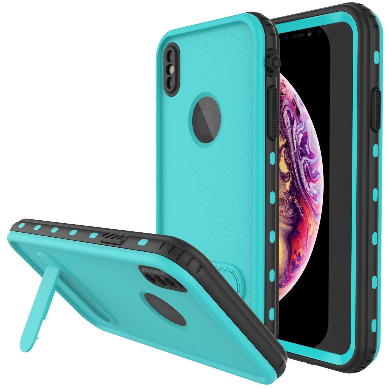 iPhone XS Max Waterproof Case, Punkcase [KickStud Series] Armor Cover [Teal]