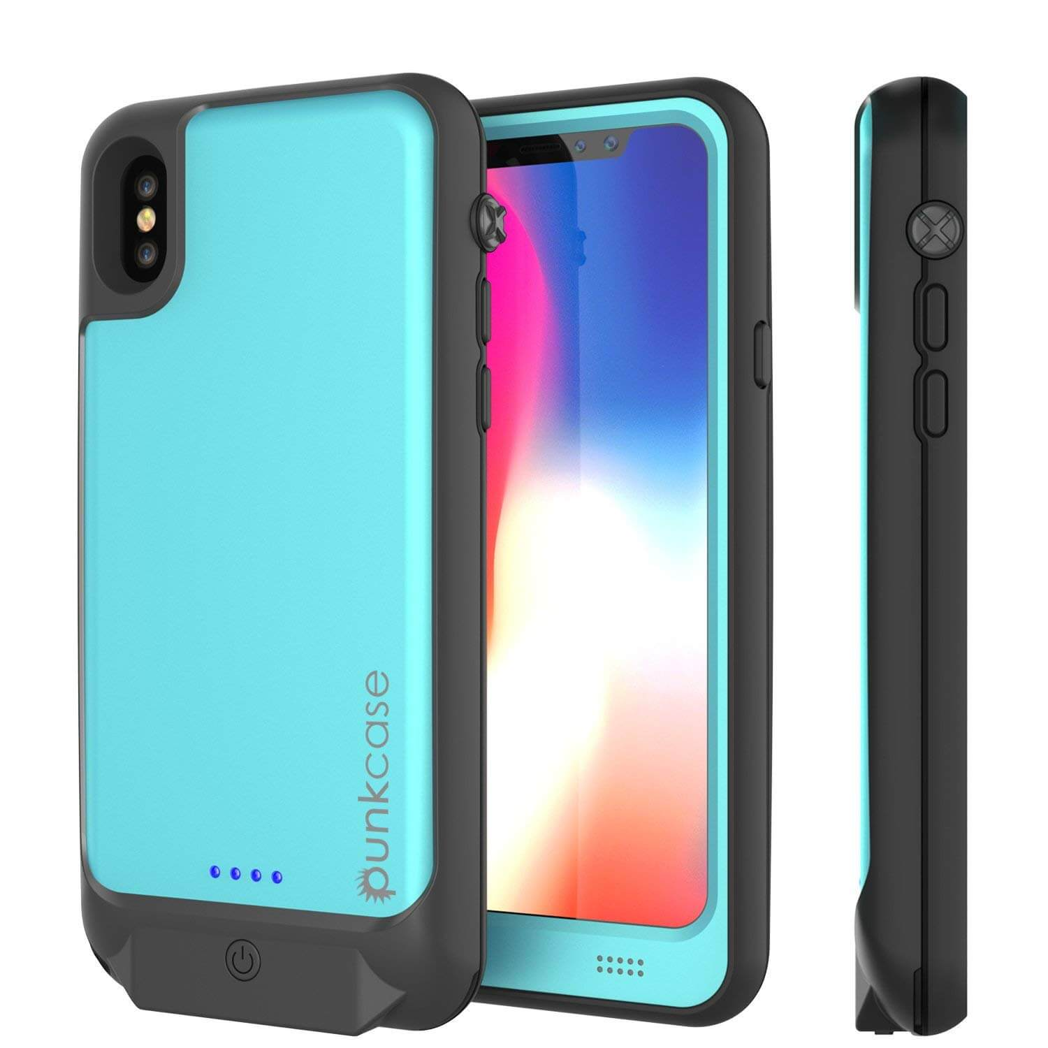 PunkJuice iPhone X Battery Case, Waterproof, IP68 Certified [Ultra Slim] [Teal]