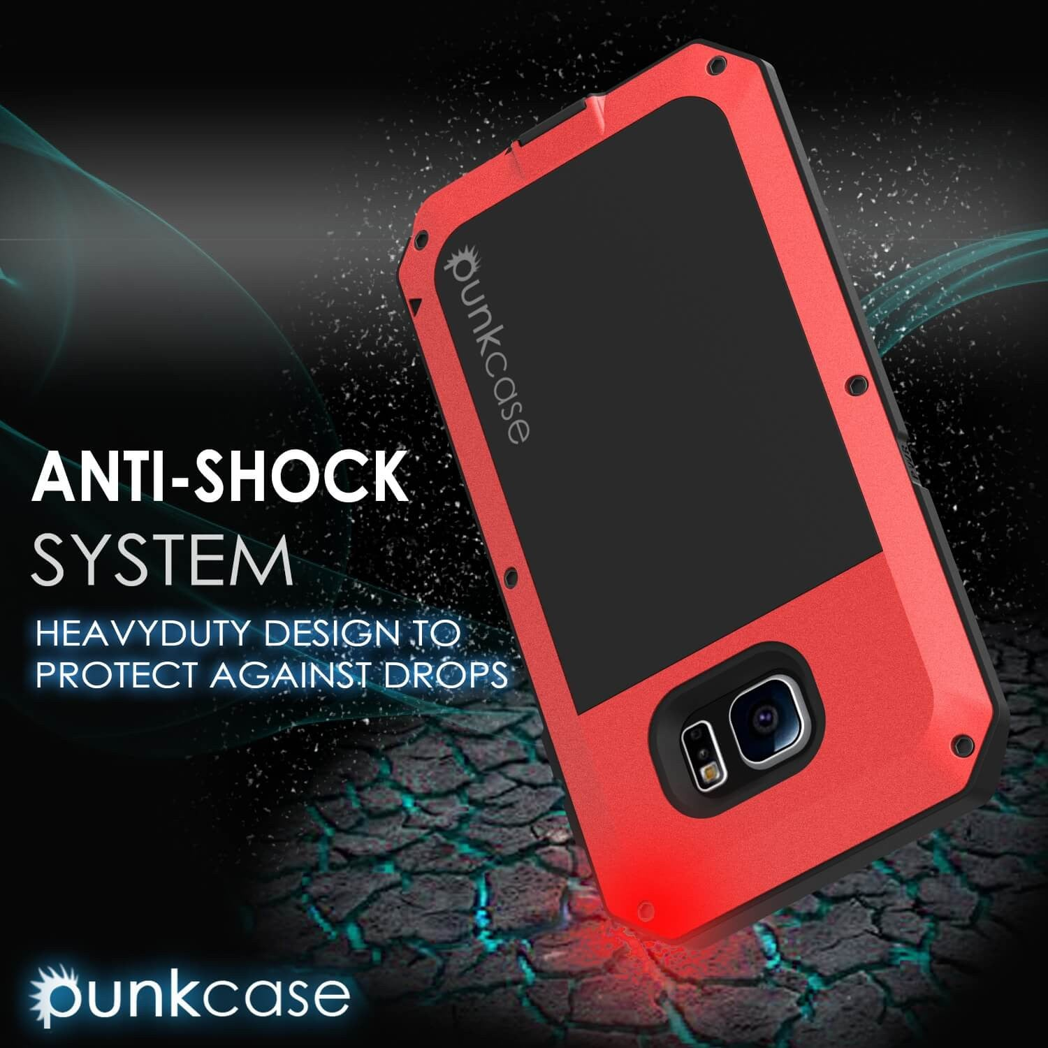 Galaxy S6 EDGE  Case, PUNKcase Metallic Red Shockproof  Slim Metal