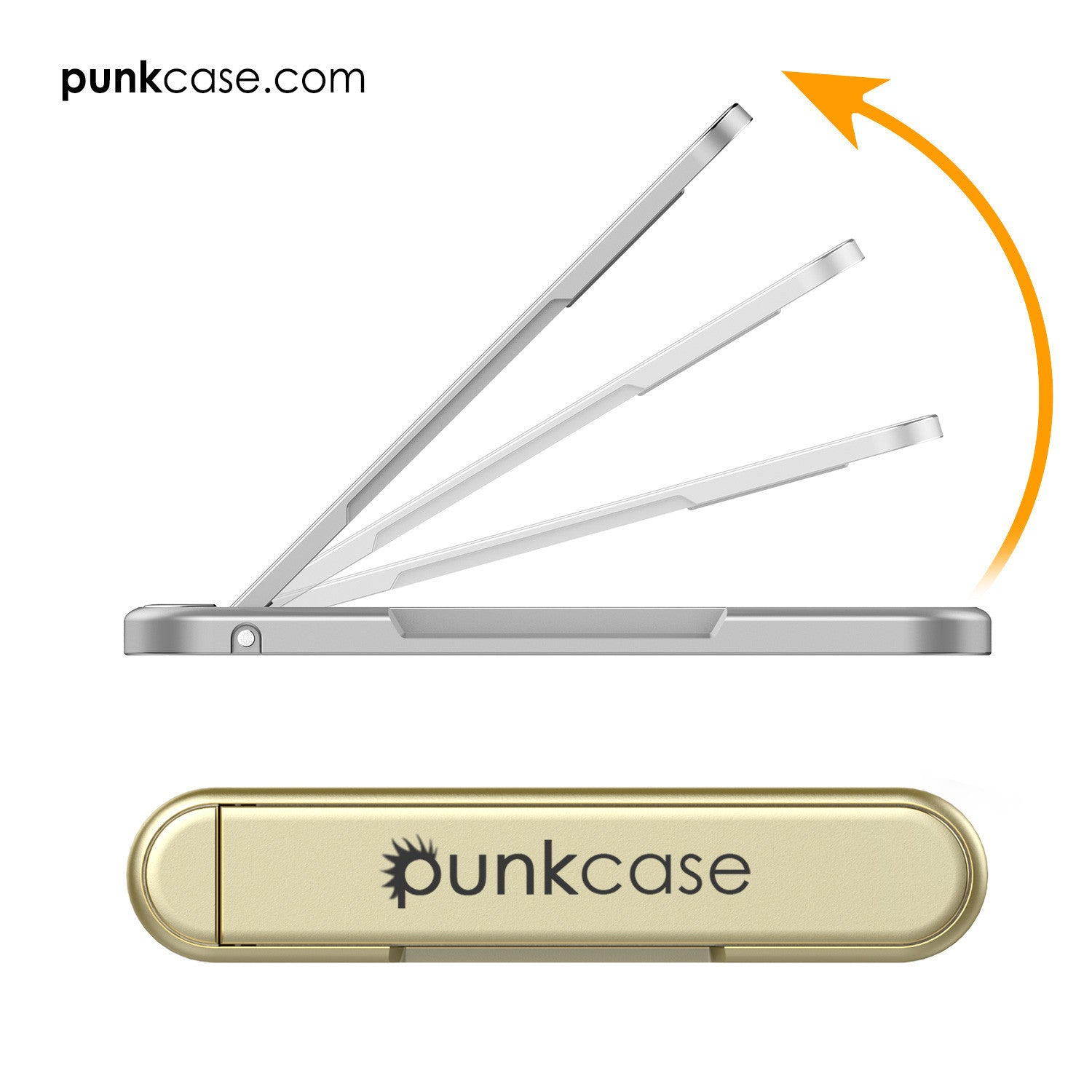 PUNKCASE FlickStick Universal Cell Phone Kickstand for all Mobile Phones & Cases with Flat Backs, One Finger Operation (Gold)