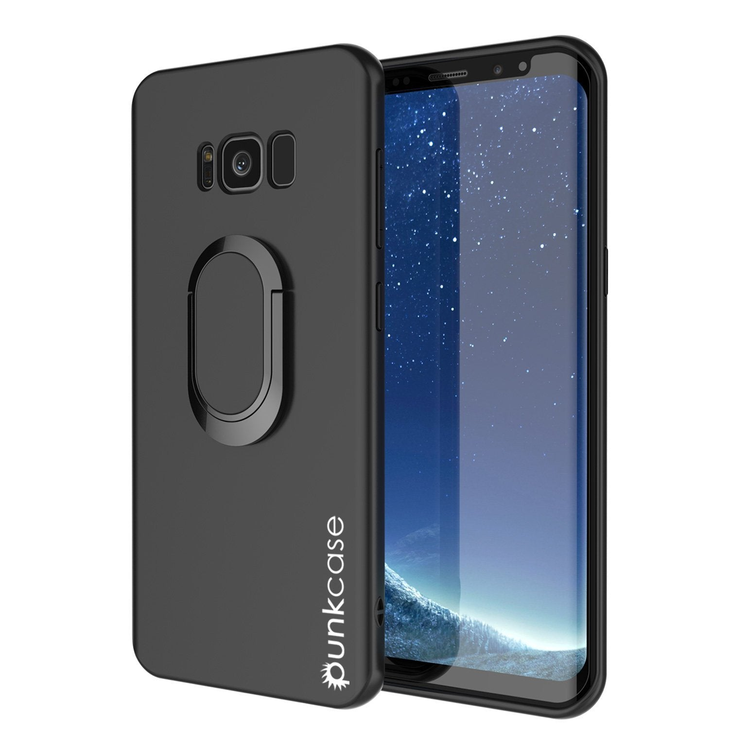 Galaxy S8 PLUS, Punkcase Magnetix Protective TPU Cover W/ Kickstand, Screen Protector [Black]