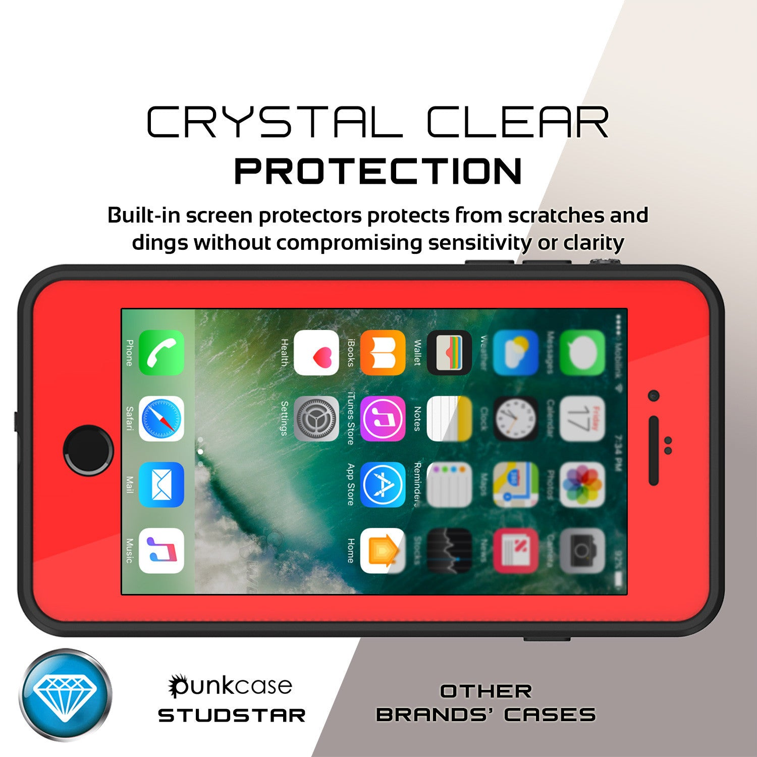 iPhone 8+ Plus Waterproof Case, Punkcase [StudStar Series] [Red] [Slim Fit] [Shockproof] [Dirtproof] [Snowproof] Armor Cover