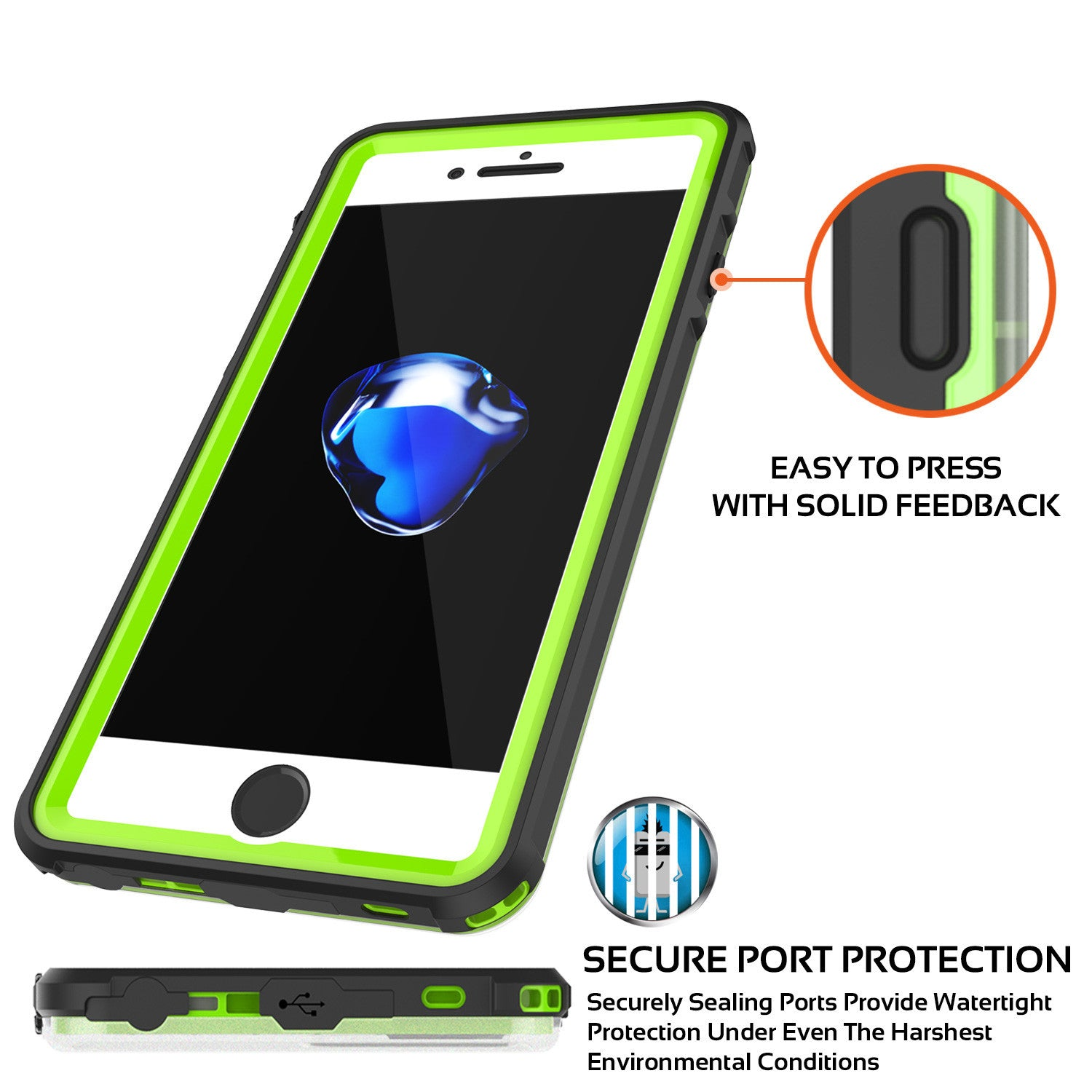 iPhone 7+ Plus Waterproof Case, PUNKcase CRYSTAL Light Green  W/ Attached Screen Protector  | Warranty