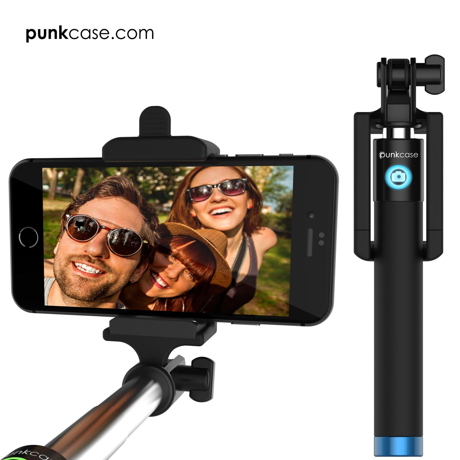 Selfie Stick - Blue, Extendable Monopod with Built-In Bluetooth Remote Shutter
