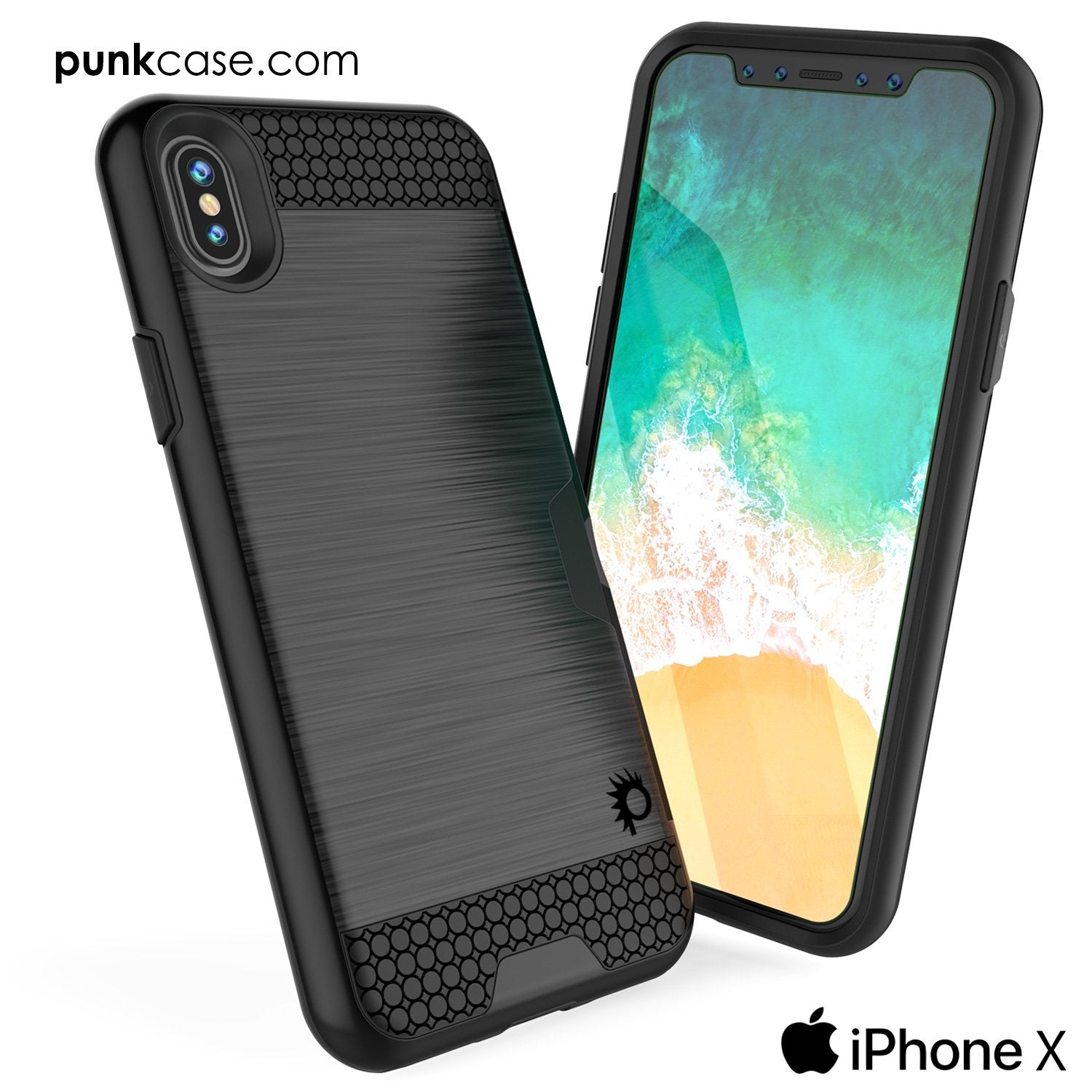 iPhone X Case, PUNKcase [SLOT Series] Slim Fit Dual-Layer Armor Cover & Tempered Glass PUNKSHIELD Screen Protector for Apple iPhone X [Black]