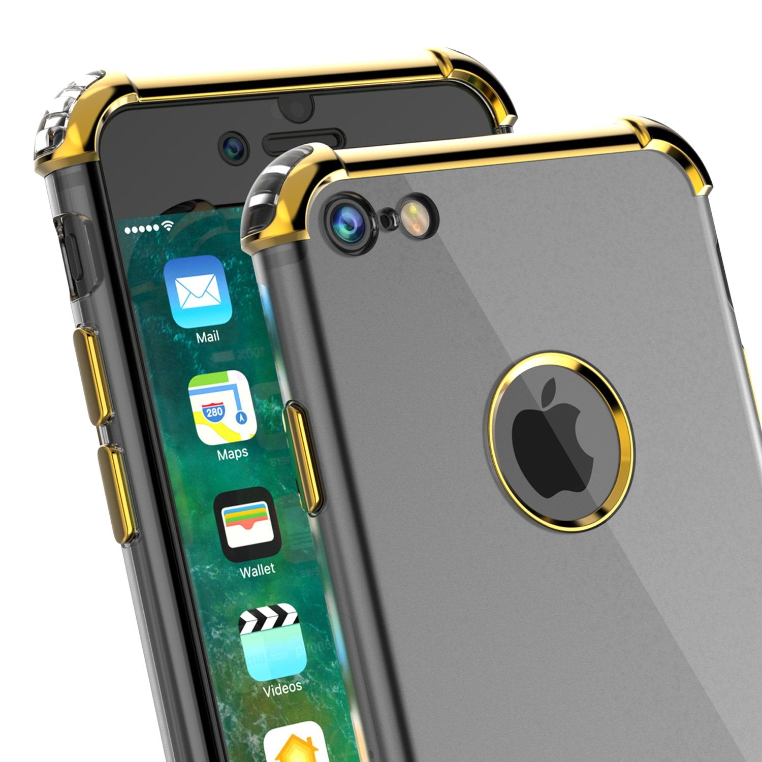 iPhone 7 Case, Punkcase [BLAZE SERIES] Protective Cover W/ PunkShield Screen Protector [Shockproof] [Slim Fit] for Apple iPhone [Gold]