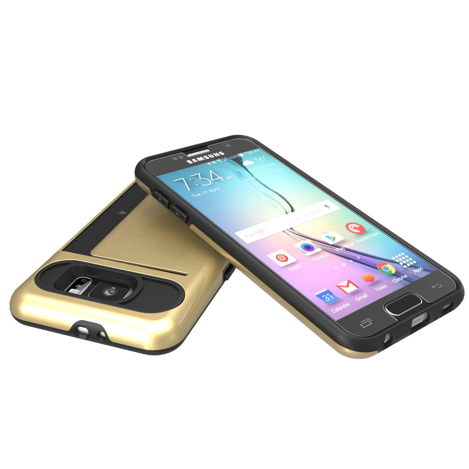 Galaxy s6 Case PunkCase CLUTCH Gold Series Slim Armor Soft Cover Case w/ Tempered Glass