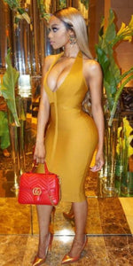 Mustard Ribbed Bandage Dress