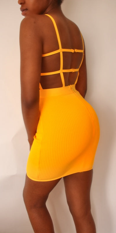 Neon Orange Backless Bandage Mini Dress