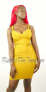 Buy Mustard Bandage Midi Dress | Baddies Run Town UK| Sale