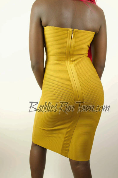 Mustard ribbed Bandage Midi Dress | Baddies Run Town UK