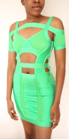 Green Cut Out Bandage Dress