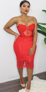 Red Bandage Lace Dress | On Sale | Baddies Run Town UK