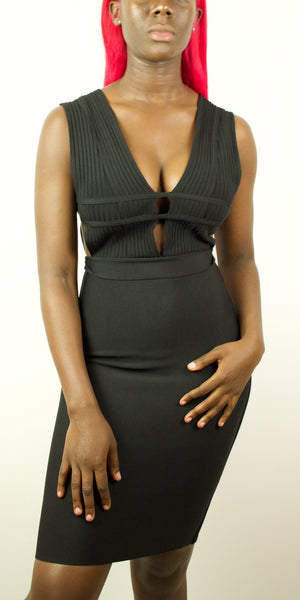 Black Plunge Bandage Dress