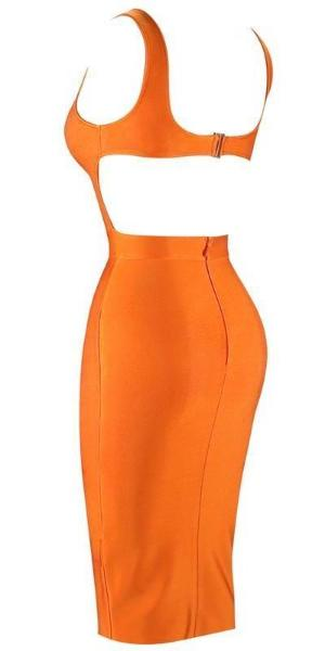 Shop Orange Backless Bandage Dress | Baddies Run Town UK