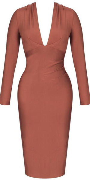 Brown Long Sleeve Bandage Dress