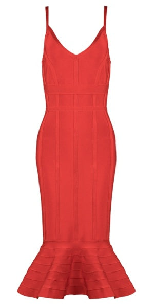 Red Frill Hem Bandage Dress
