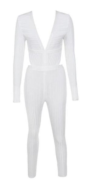 Shop White Bandage Jumpsuit | On Sale | Baddies Run Town UK